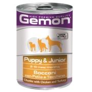 Gemon Dog консервы для щенков кусочки курицы с индейкой 415г...