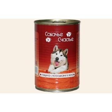 """Консервы Собачье счастье """"Говядина с потрошками"""" в желе для собак"""