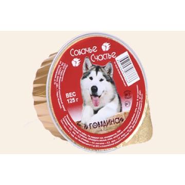 """Консервы Собачье счастье """"Говядина"""" для собак, 125г"""