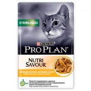 Влажный корм Pro Plan Nutri Savour Sterilised для кошек курица в соусе, 85 гр...