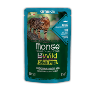 Влажный корм Monge Cat BWild GRAIN FREE паучи из тунца с креветками и овощами дл...