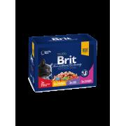 Влажный корм Brit Premium Семейная тарелка набор паучей для кошек, 12*100г....
