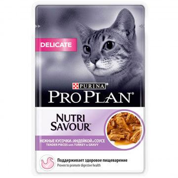 Влажный корм Pro Plan Nutri Savour Delicate индейка в соусе для кошек, 85гр