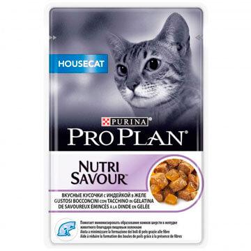 Влажный корм Pro Plan Nutri Savour Housecat индейка для взрослых домашних кошек, 85г