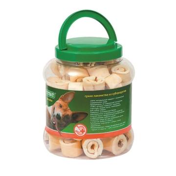 Лакомство TiTBiT для собак роллы из кожи с начинкой - банка пластиковая (4.3л)