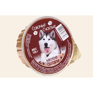 """Консервы Собачье счастье """"Мясное ассорти"""" в желе для собак, 125г"""