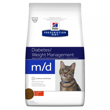 Сухой корм для кошек Hill's Prescription Diet m/d Diabetes при сахарном диабете, с курицей 1,5 кг