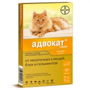 Капли Bayer Адвокат от чесоточных клещей, блох и гельминтов для кошек до 4кг, по...