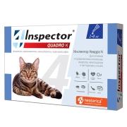 Капли Inspector Quadro от внешних и внутренних паразитов (1-4кг) 1 пипетка...