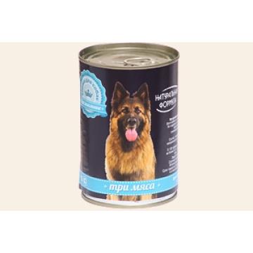 "Консервы Натуральная формула ""Три мяса"" для собак, 410г"