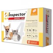 Таблетки Inspector Quadro Tabs от блох, клещей и глистов для кошек и собак 0,5-2...