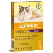 Капли Bayer Адвокат от чесоточных клещей, блох и гельминтов д/кошек более 4кг, п...