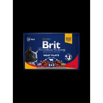 Влажный корм Brit Premium Мясная тарелка набор паучей для кошек (4*100 гр)