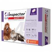 Таблетки Inspector Quadro Tabs от блох, клещей и глистов для кошек и собак 8-16 ...