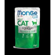 Влажный корм Monge Cat Grill Pouch паучи для взрослых кошек итальянский кролик 8...