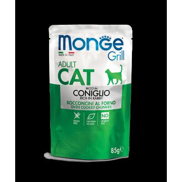 Влажный корм Monge Cat Grill Pouch паучи для взрослых кошек итальянский кролик 85г