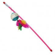 """Дразнилка Triol В028 """"Удочка цветной шар веревка с перьями"""" для кошек..."""
