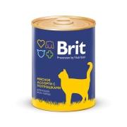 Консервы Brit Premium мясное ассорти с потрошками консервы для кошек 340г...