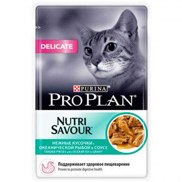 Влажный корм Pro Plan Nutri Savour Delicate океаническая рыба в соусе для кошек, 85гр