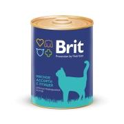 Консервы Brit Premium мясное ассорти с птицей для кастрированных котов 340г...