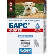 Капли АВЗ Барс Форте инсектоакарицидные от блох и клещей для щенков (4пип)...