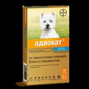 Капли Bayer Адвокат от чесоточных клещей, блох и гельминтов для собак 4-10 кг, п...
