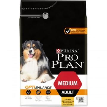 Сухой корм Pro Plan для взрослых собак средних пород, курица+рис