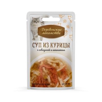 Деревенские лакомства консервы для кошек «Суп из курицы с говядиной и шпинатом»