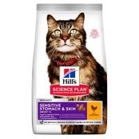 Hill's Science Plan Sensitive Stomach & Skin сухой корм для кошек для здоров...