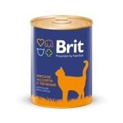 Консервы Brit Premium мясное ассорти с печенью консервы для кошек 340г...