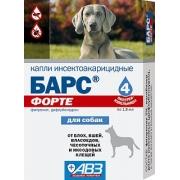 Капли АВЗ Барс Форте инсектоакарицидные от блох и клещей для собак (4пип) ...