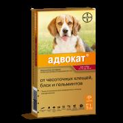 Капли Bayer Адвокат от чесоточных клещей, блох и гельминтов для собак 10-25кг, п...