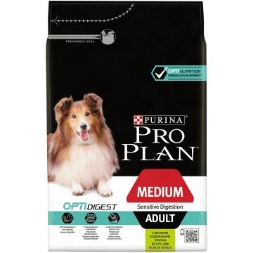 Сухой корм Pro Plan для взрослых собак средних пород с чувствительным пищеварением, ягненок+рис