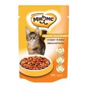 Влажный корм Мнямс паучи для взрослых кошек с курицей 100 г в соусе, идеальный б...