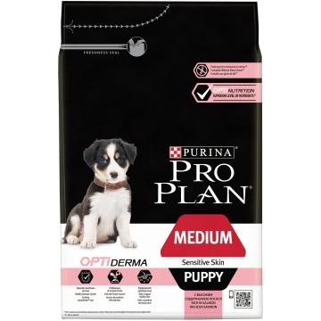 Сухой корм Pro Plan для щенков средних пород с чувствительной кожей, лосось+рис