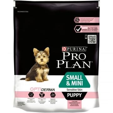 Сухой корм Pro Plan для щенков мелких пород с чувствительным кожей, лосось+рис