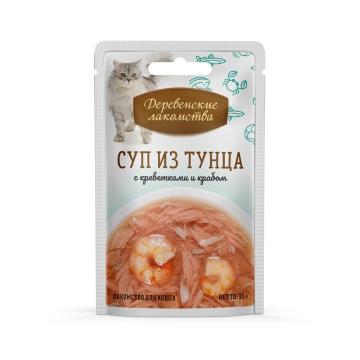 Деревенские лакомства консервы для кошек «Суп из тунца с креветками и крабом»