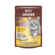 Влажный корм Best Dinner Exclusive Курица в желе волокна филе грудки для взрослы...