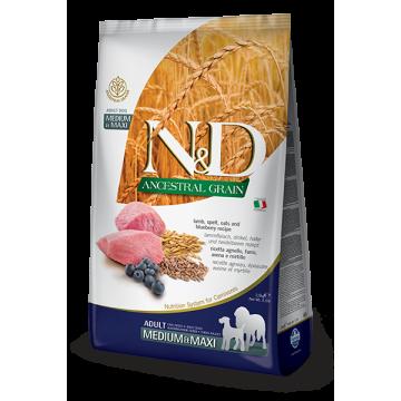 Сухой корм Farmina N&DНЗ DOG ягненок, спельта, овес и черника для взрослых собак средних и крупных пород