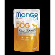 Влажный корм Monge Dog Grill PUPPY&JUNIOR Pouch паучи для щенков курица и ин...