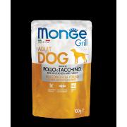 Влажный корм Monge Dog Grill Pouch паучи для собак курица с индейкой 100г...