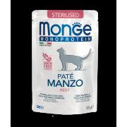 Влажный корм Monge Cat Monoprotein Pouch паучи для стерилизованных кошек говядин...