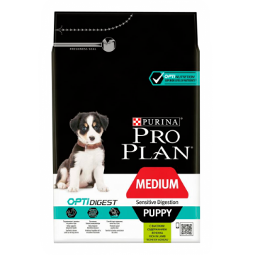 Сухой корм Pro Plan для щенков средних пород с чувствительным пищеварением, ягненок+рис