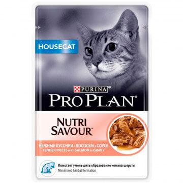 Влажный корм Pro Plan Nutri Savour Housecat лосось в соусе для кошек, 85гр