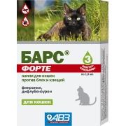 Капли АВЗ Барс Форте инсектоакарицидные от блох и клещей для кошек (3пип)...