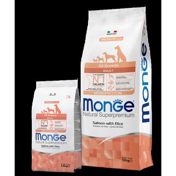 Сухой корм Monge Dog Speciality корм для собак всех пород лосось с рисом