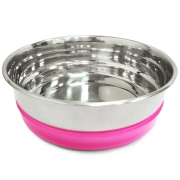 Миска Triol металлическая с розовой резинкой, 300 мл....