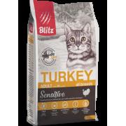Сухой корм Blitz Sensitive Turkey Adult Cat All Breeds для взрослых кошек «Индей...
