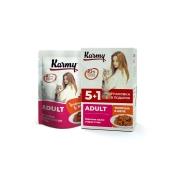 Влажный корм Karmy Adult Телятина. Мясные кусочки в желе для кошек, набор 5+1...