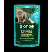 Влажный корм Monge Cat BWild GRAIN FREE паучи из трески с креветками и овощами д...